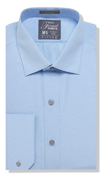 Formal Light Blue Laydown Shirt No Pleats