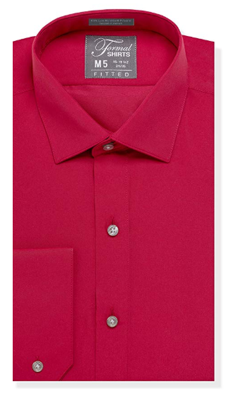 Formal Red Laydown Shirt No Pleats