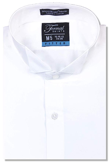 Formal White Wingtip Shirt No Pleats