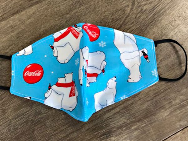 Christmas Coca Cola Bear - Adult Face Masks found at Rex Formal Wear, San Antonio, Texas