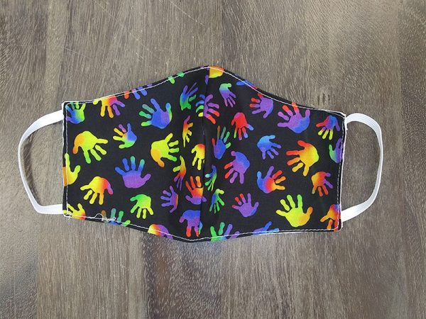 Rainbow Hands Adult Face Masks found at Rex Formal Wear, San Antonio, Texas