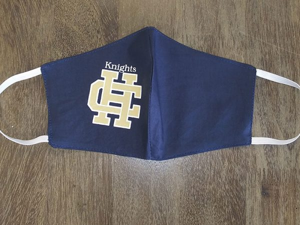 Holy Cross High School Logo Masks - Clark High School - Made by Rex Formalwear, San Antonio, Texas