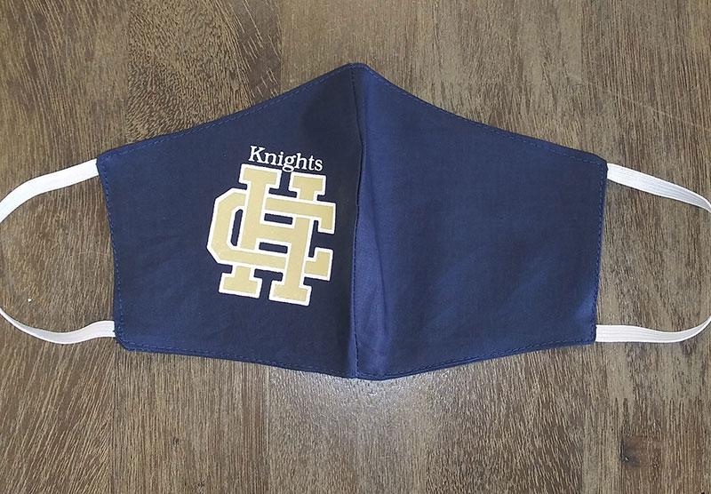 Holy Cross High School Logo Masks - Clark High School - Made by Rex Formalwear, San Antonio, Texas